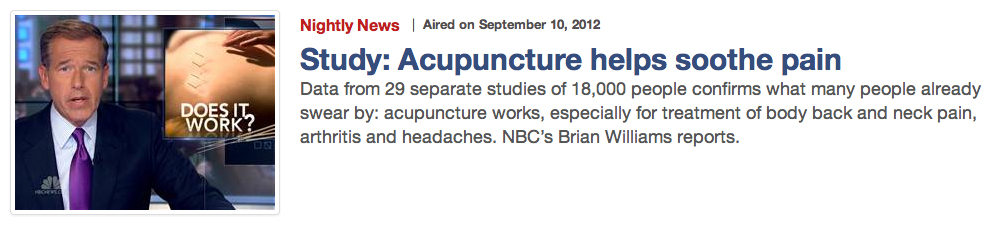 Acupuncture helps soothie pain